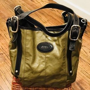 Tod's G Line Sacca Coated Canvas and Leather Trim